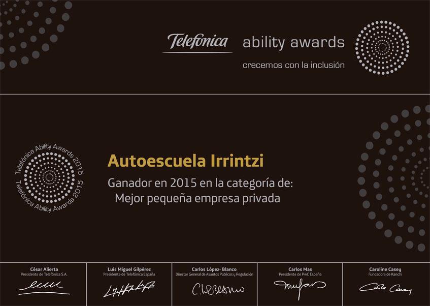 autoescuela_irrintzi_premios_ability_awards_telefonica_diploma